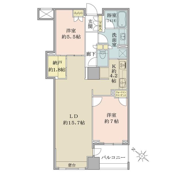 ブリリア ウェリス月島の間取図/7F/7,980万円/2LDK+WIC/74.86 m²
