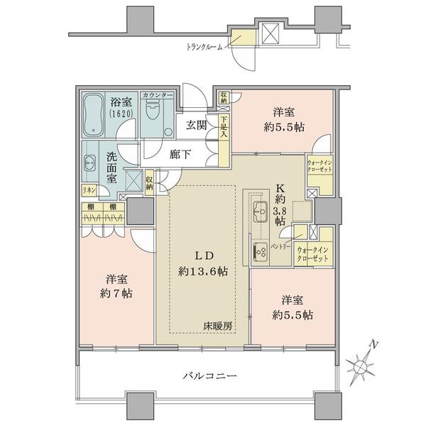 ブリリア有明スカイタワーの間取図/11F/6,950万円/3LDK/83.31 m²