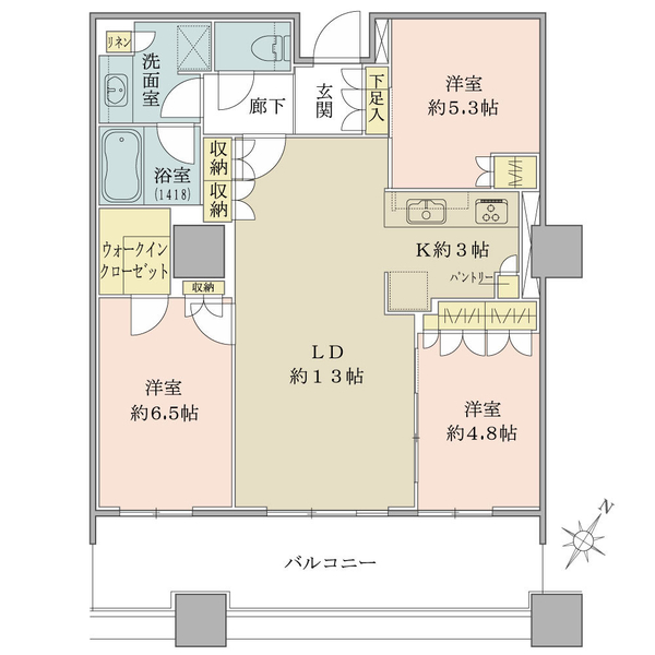 ブリリア有明スカイタワーの間取図/6F/6,490万円/3LDK+WIC/75.45 m²