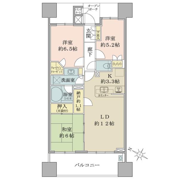 ブリリア大島小松川公園の間取図/9F/4,480万円/3LDK+WIC/73.35 m²