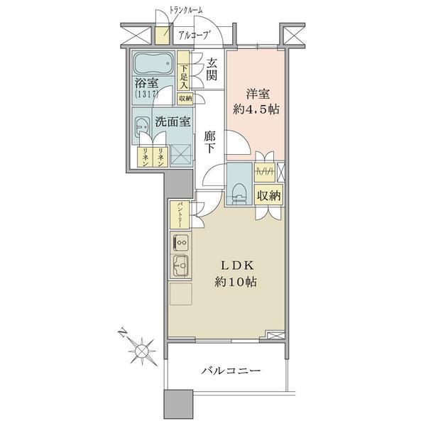 ブリリアマーレ有明タワー&ガーデンの間取図/7F/3,400万円/1LDK/40.8 m²