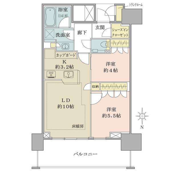 ベイズ タワー&ガーデンの間取図/14F/5,690万円/2LDK+SIC/55.58 m²