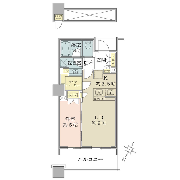 ブリリア有明スカイタワーの間取図/32F/4,630万円/1LDK/43.76 m²
