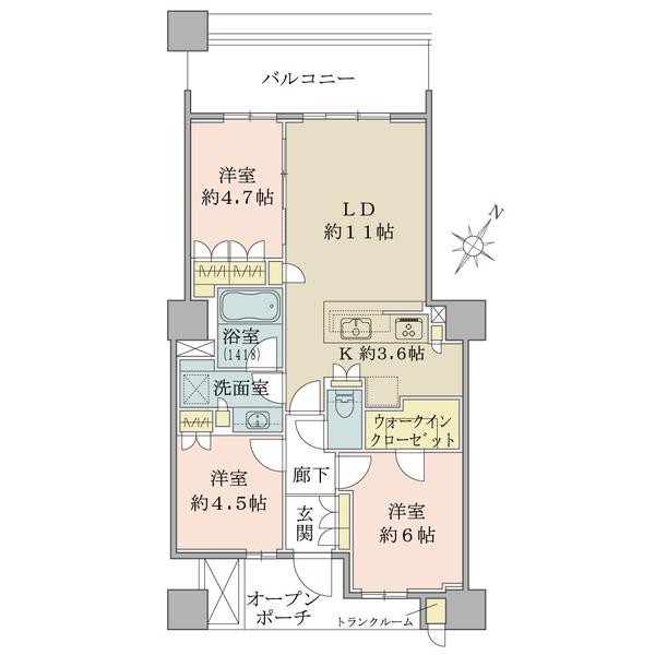 ブリリア有明スカイタワーの間取図/26F/5,990万円/3LDK/69.06 m²