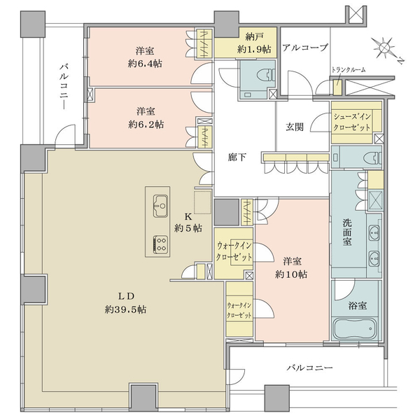 ブリリア マーレ有明の間取図/31F/19,800万円/3LDK+SIC+2WIC/161.01 m²