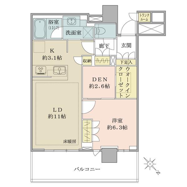 ブリリア有明シティタワーの間取図/15F/5,580万円/1SLDK++WIC/55.92 m²