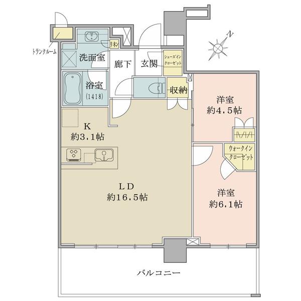 ブリリア有明シティタワー の間取図/6F/5,190万円/2LDK/65.88 m²