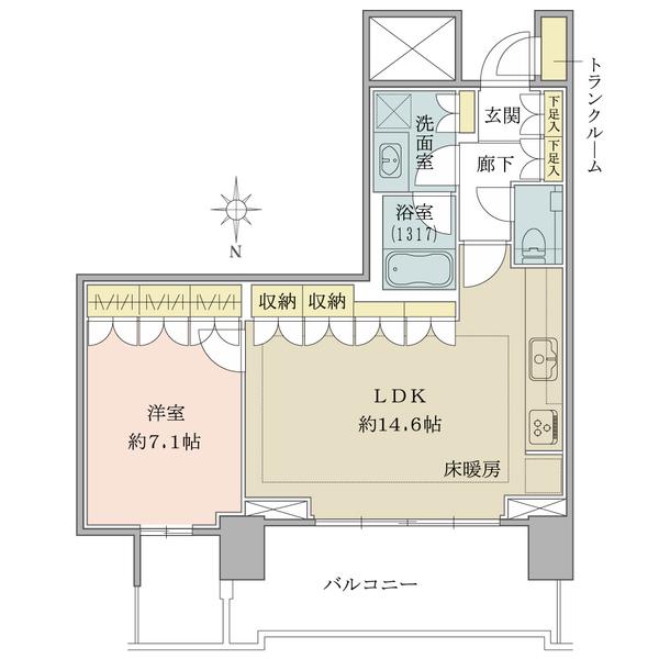 ベイズ タワー&ガーデンの間取図/20F/5,680万円/1LDK/54.98 m²