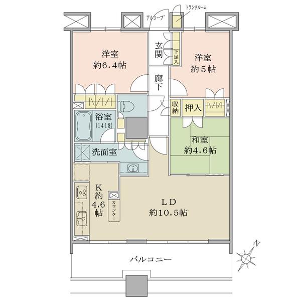 ブリリア マーレ有明の間取図/23F/6,980万円/3LDK/70.87 m²
