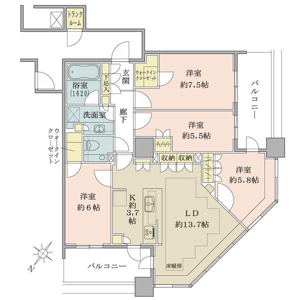 ブリリア有明スカイタワーの間取図/4F/7,680万円/4LDK/93.54 m²