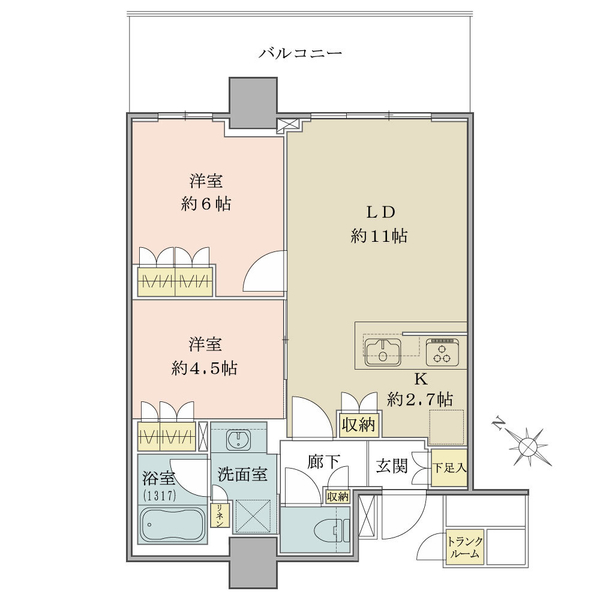 ブリリア有明シティタワーの間取図/22F/5,200万円/2LDK/55.38 m²