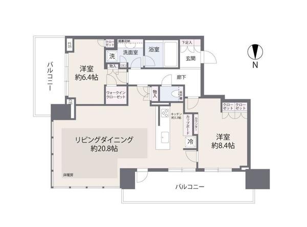ベイズ タワー&ガーデンの間取図/5F/8,180万円/2LDK/87.95 m²