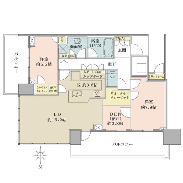 ベイズ タワー&ガーデンの間取図/22F/8,190万円/2SLDK+2WIC+N/87.95 m²