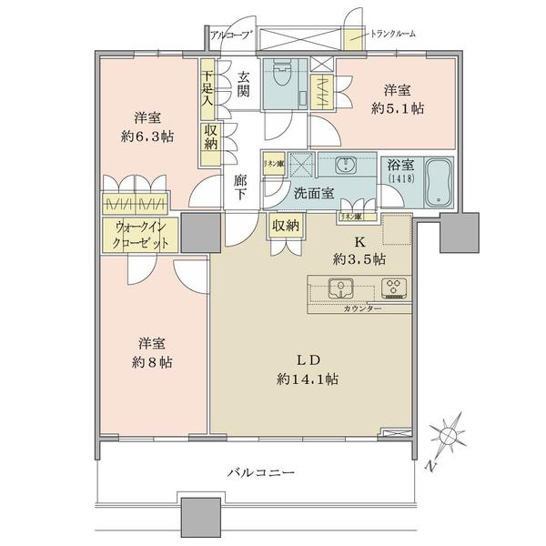ブリリア マーレ有明の間取図/3F/6,880万円/3LDK/83.39 m²