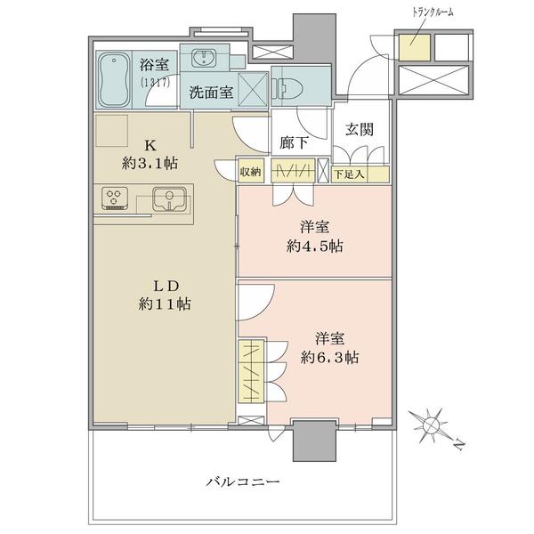 ブリリア有明シティタワーの間取図/14F/5,190万円/2LDK/55.92 m²