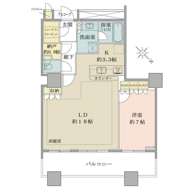 ブリリアマーレ有明の間取図/26F/5,380万円/1LDK/66.06 m²