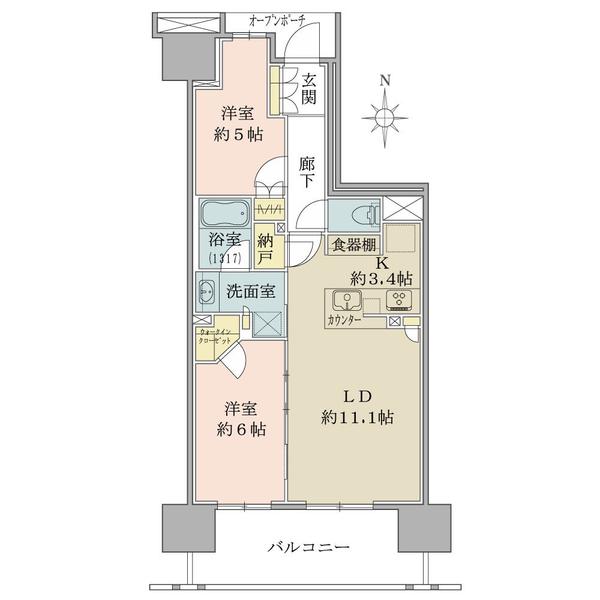 ブリリア辰巳キャナルテラスの間取図/11F/4,180万円/2LDK+WIC/61.17 m²