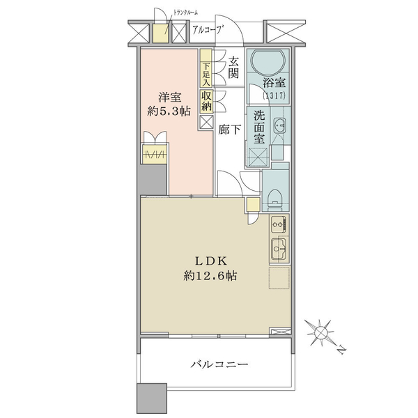 ブリリアマーレ有明タワー&ガーデンの間取図/27F/4,080万円/1LDK/45.88 m²