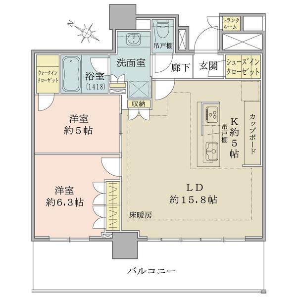 ブリリア有明シティタワーの間取図/23F/6,680万円/2LDK/70.89 m²