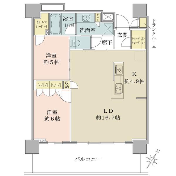 ブリリア有明シティタワー の間取図/4F/5,750万円/2LDK/70.63 m²
