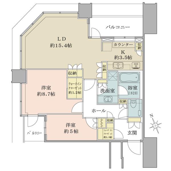 スカイズ タワー&ガーデンの間取図/43F/9,080万円/2LDK+WIC+SIC/80.07 m²