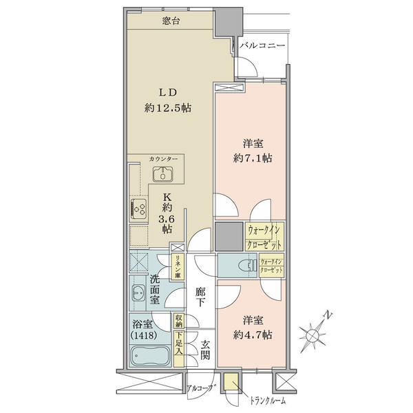 ブリリアマーレ有明タワー&ガーデンの間取図/12F/5,450万円/2LDK+2WIC/64.08 m²