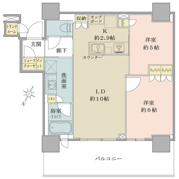ブリリア有明シティタワーの間取図/30F/5,480万円/2LDK/55.94 m²