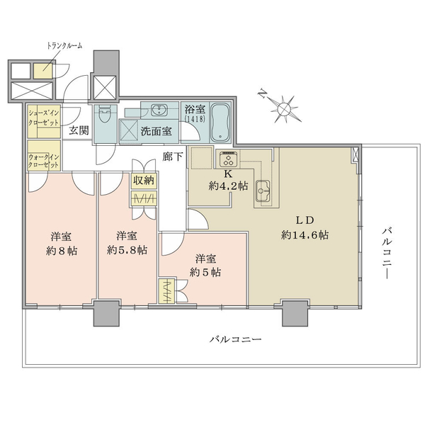 ブリリア有明シティタワーの間取図/30F/8,680万円/3LDK+Wic+Sic/84.27 m²
