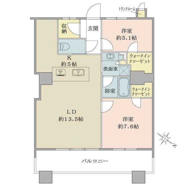 ブリリアマーレ有明の間取図/18F/6,980万円/2LDK/75.54 m²