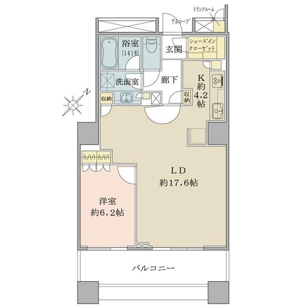 ブリリアマーレ有明タワー&ガーデンの間取図/2F/5,380万円/1LDK+SIC/63.31 m²