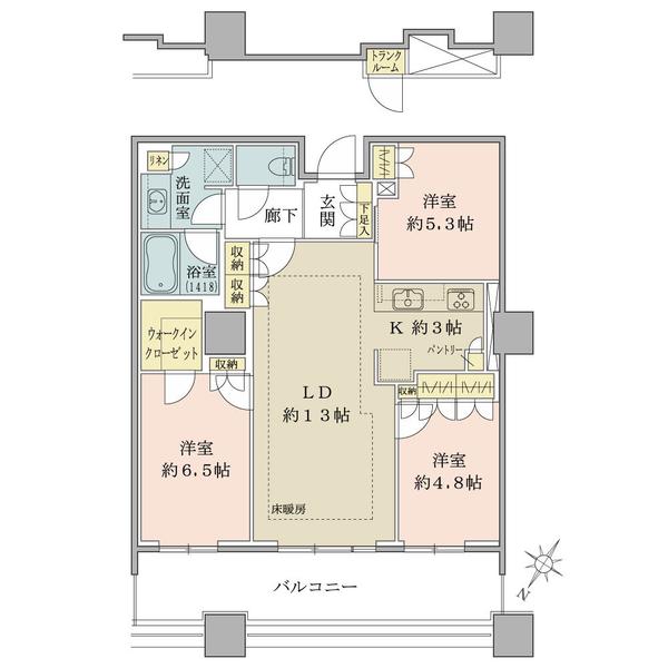 ブリリア有明スカイタワーの間取図/4F/6,198万円/3LDK/75.44 m²