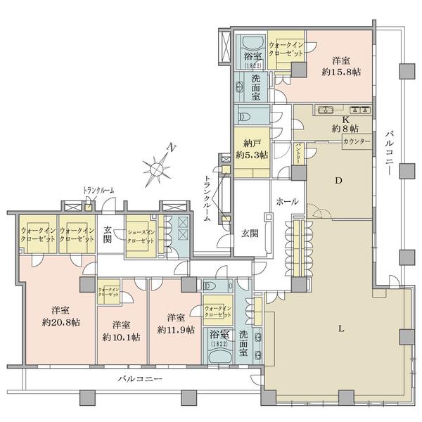 ブリリアマーレ有明タワー&ガーデンの間取図/32F/48,000万円/4LDK+4WIC/366.19 m²