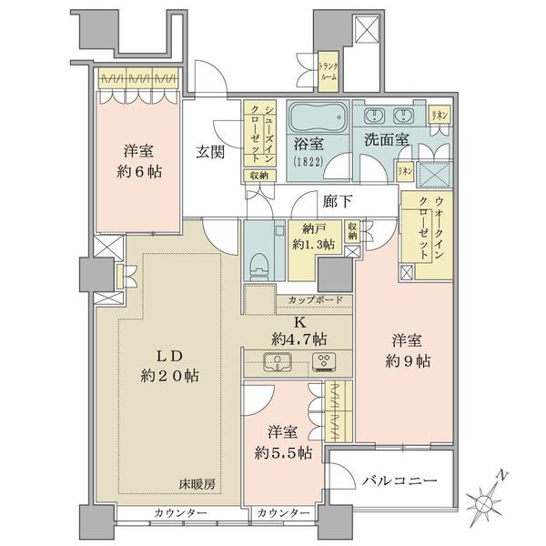 ブリリア有明スカイタワーの間取図/33F/10,900万円/3LDK/115.51 m²