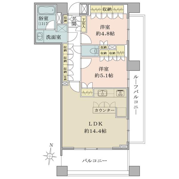 ブリリア神楽坂idの間取図/7F/8,180万円/2LDK/60.17 m²