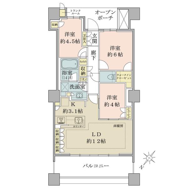 ブリリア有明スカイタワーの間取図/32F/6,930万円/3LDK/70.03 m²
