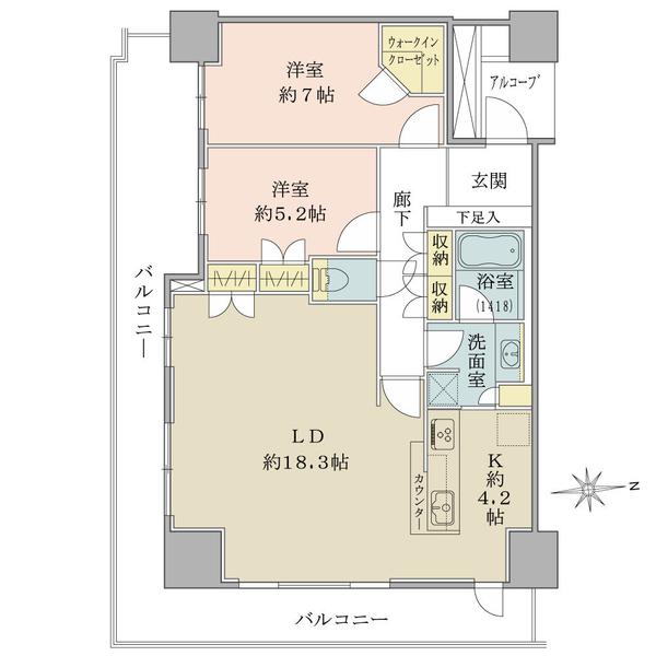 ブリリア タワー品川シーサイドの間取図/11F/5,580万円/2LDK+WIC/80.1 m²