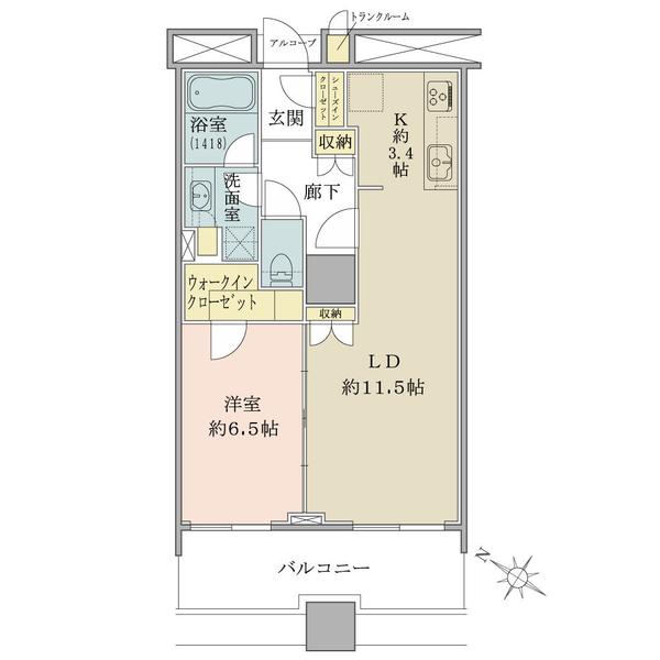 ブリリアマーレ有明タワー&ガーデンの間取図/20F/4,480万円/1LDK/53.79 m²