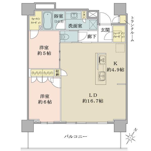ブリリア有明シティタワーの間取図/7F/5,650万円/2LDK+WIC/70.63 m²
