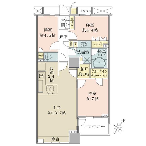 ブリリアマーレ有明タワー&ガーデンの間取図/16F/6,290万円/3LDK+Wic/76.33 m²