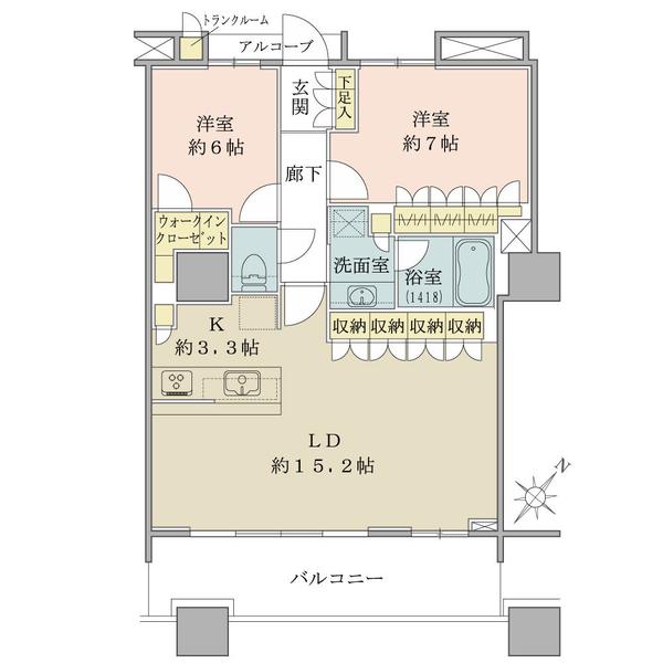 ブリリアマーレ有明タワー&ガーデンの間取図/11F/6,100万円/2LDK+Wic/70.91 m²