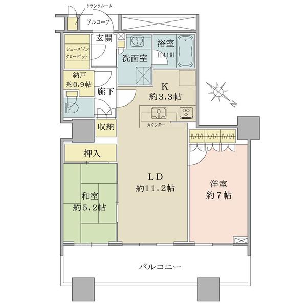 ブリリアマーレ有明の間取図/7F/5,280万円/2LDK/66.06 m²