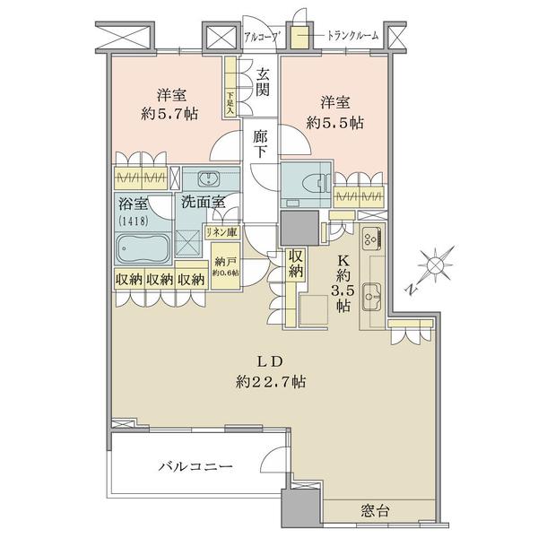 ブリリアマーレ有明タワー&ガーデンの間取図/22F/7,500万円/2LDK/84.34 m²
