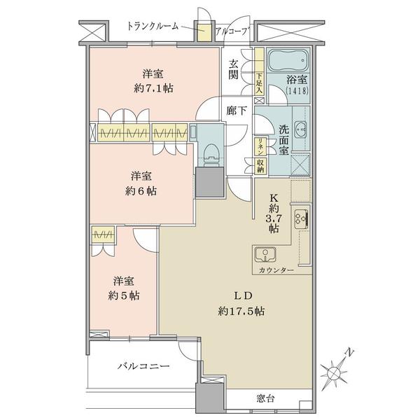 ブリリアマーレ有明タワー&ガーデンの間取図/24F/7,150万円/3LDK/83.88 m²