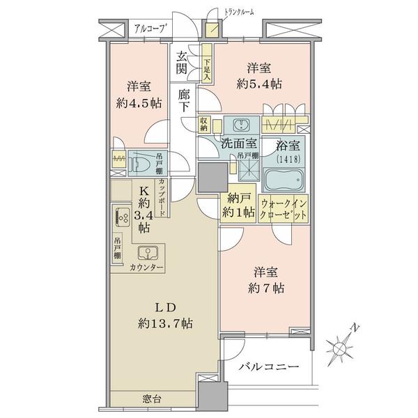 ブリリアマーレ有明タワー&ガーデンの間取図/20F/6,480万円/3LDK/76.33 m²