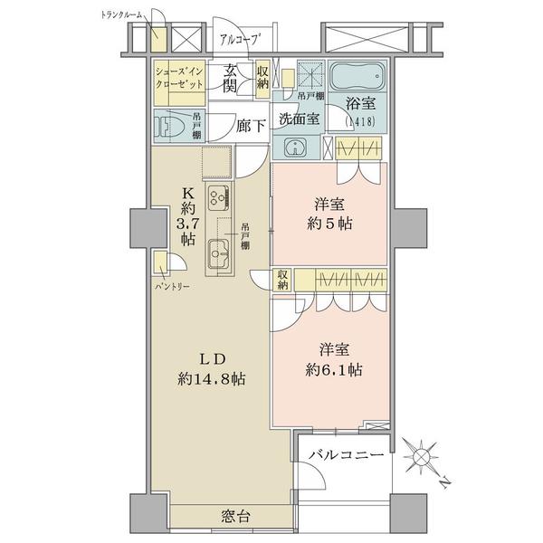 ブリリアマーレ有明タワー&ガーデンの間取図/10F/5,380万円/2LDK/66.11 m²