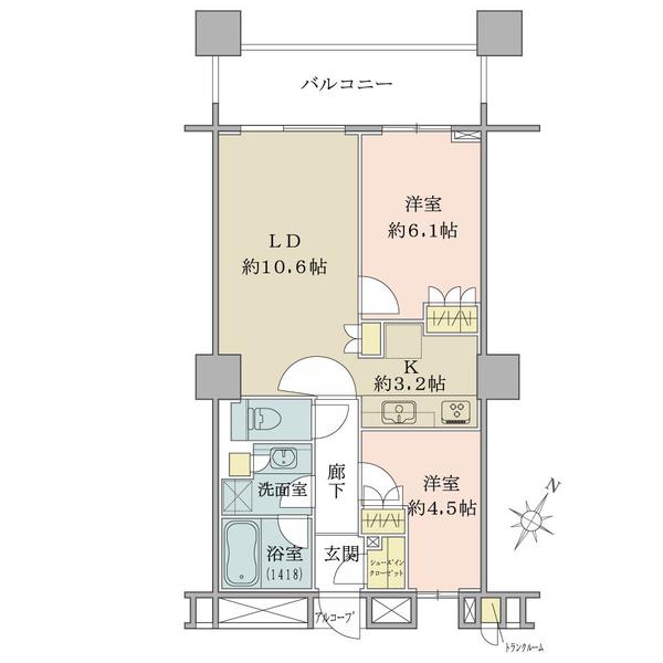 ブリリアマーレ有明タワー&ガーデンの間取図/4F/5,080万円/2LDK+SIC/55.68 m²