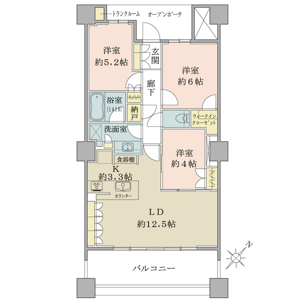 ブリリア有明スカイタワーの間取図/22F/6,380万円/3LDK+Wic+N/71.18 m²