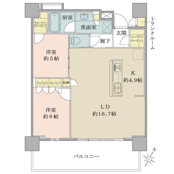 ブリリア有明シティタワーの間取図/22F/6,890万円/2LDK+SIC/70.63 m²