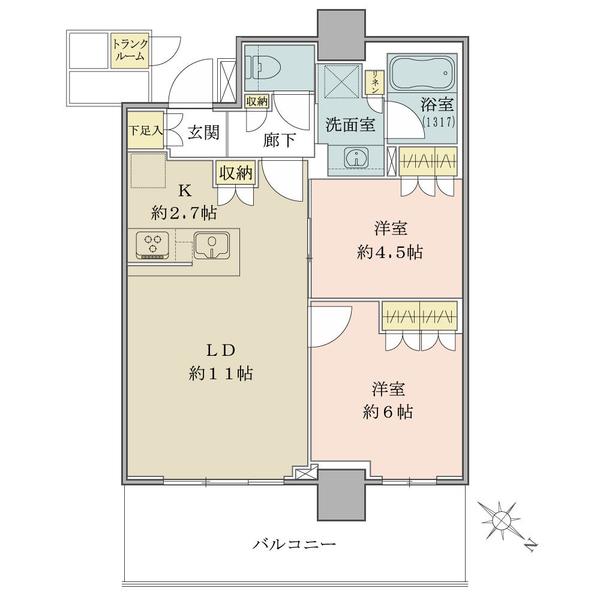 ブリリア有明シティタワーの間取図/23F/5,490万円/2LDK/55.38 m²