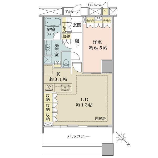 ブリリアマーレ有明の間取図/3F/5,280万円/1LDK/55.65 m²